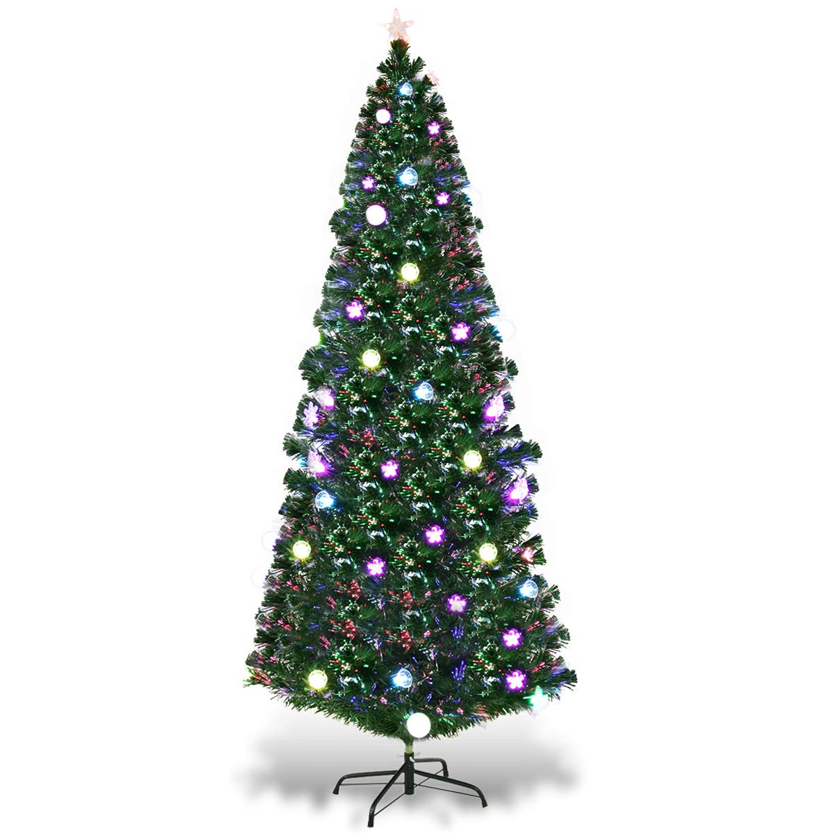 93e88f731a78 Amazon.com: Goplus 7FT Fiber Optic Christmas Tree Pre-Lit Artificial  Fireworks Spruce Tree w/Multicolor LED Lights, Top Star & Blossom Bell  Decorations: ...