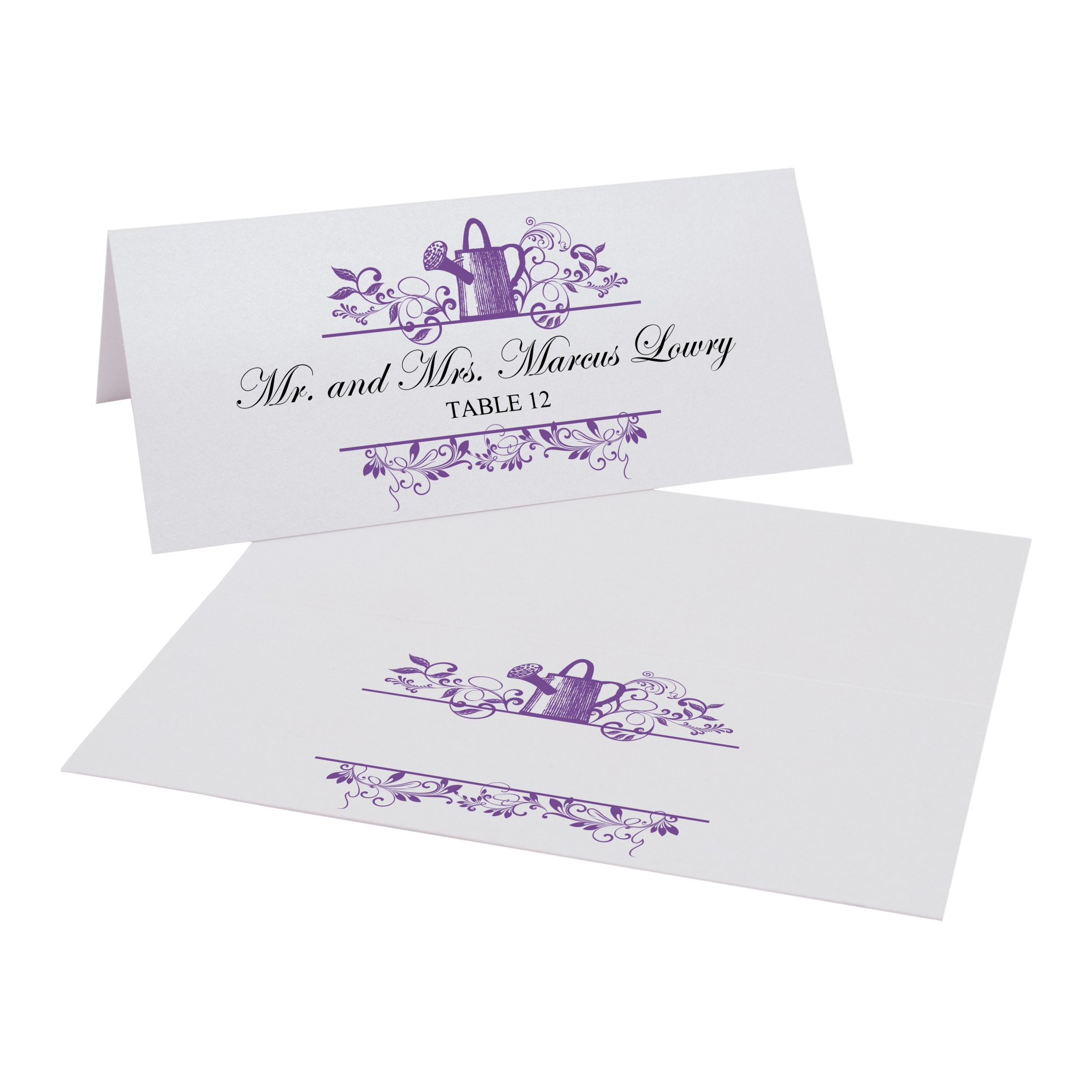 Vintage Garden Watering Can Easy Print Place Cards, Pearl White, Purple, Set of 475 (119 Sheets) by Documents and Designs