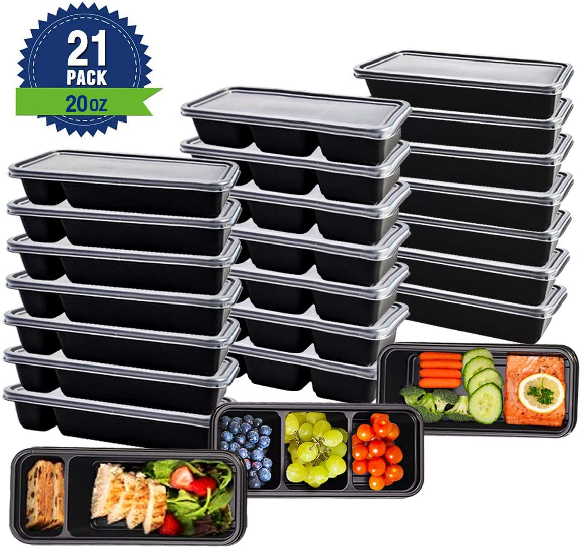 Meal Prep Containers with Lids [21 Pack,20 oz] 3,2 & 1 Compartments Food Storage Sets,Stacking Bento Box Lunch Box Reusable,Microwave and Freezer Safe