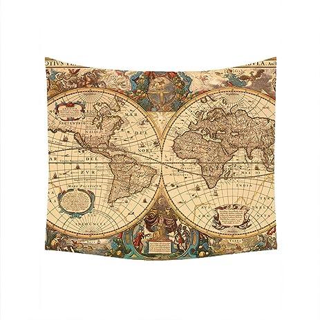 Amazon.com: Custom Home Decor, Retro World Map Wall Tapestry Wall ...