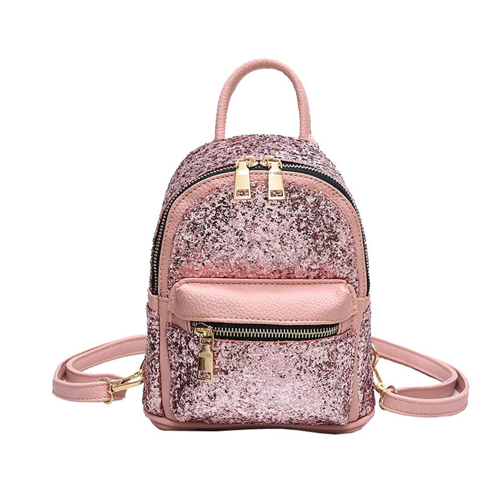 Girls Cute Sequin Mini Backpack Leather Purse Women Backpack Leather Cross Body Bag NCDXS003262-Black
