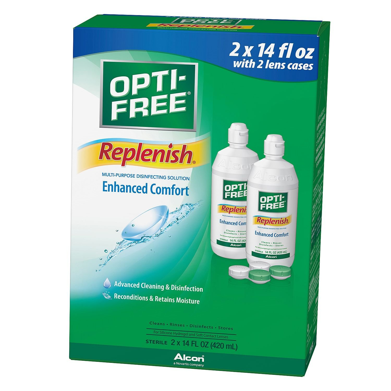 Opti-Free Replenish Multi-Purpose Disinfecting Solution with Lens Case, Twin Pack, 14 oz Each