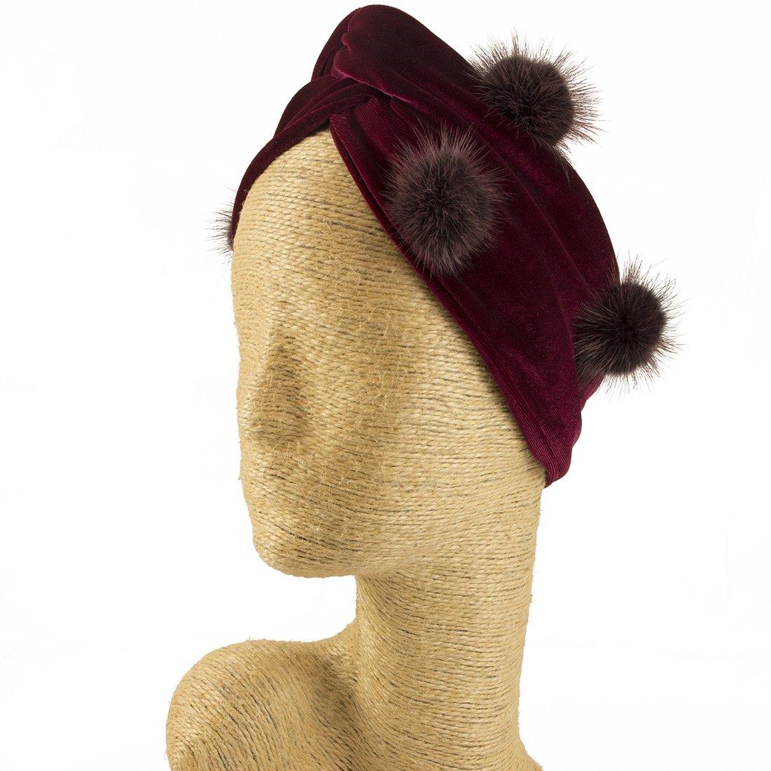 Fascinator, Velvet Headbands, Millinery, Worldwide Free Shipment, Delivery in 2 Days, Customized Tailoring, Designer Fashion, Head wrap, Bohemian Accessories, Burgundy, Pom Pom, Boho Chic