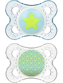 MAM Pacifiers, Baby Pacifier 0-6 Months, Best Pacifier for Breastfed Babies, 'Clear' Design Collection, Boy, 2-Count
