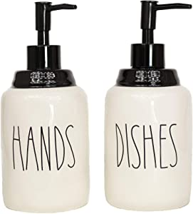 Cam n Honey Farmhouse Style Ceramic Dishes and Hands Liquid Soap Dispenser Set – Perfect for Kitchen Counter Décor (14oz, White Bottles with Black Pump and Lettering)
