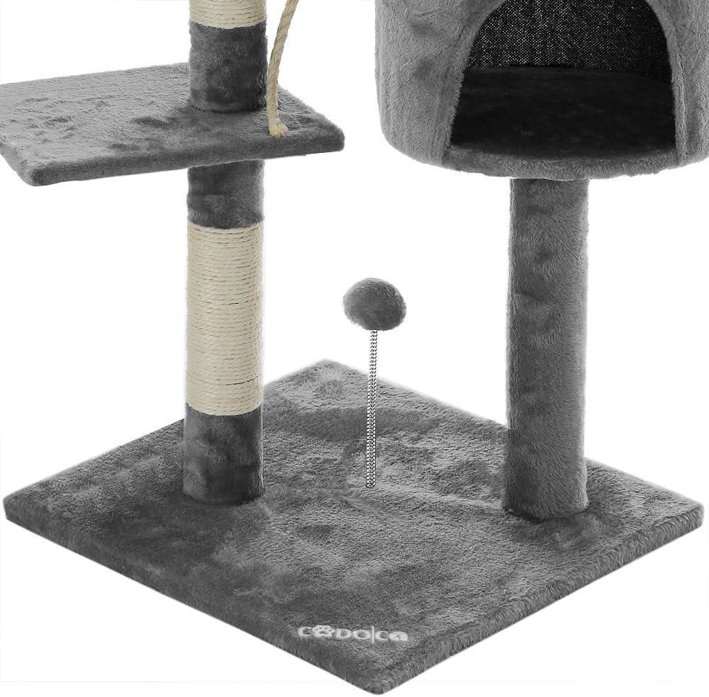 CADOCA/® Albero tiragraffi grigio corda 3 piattaforme 2 palline 1 tana
