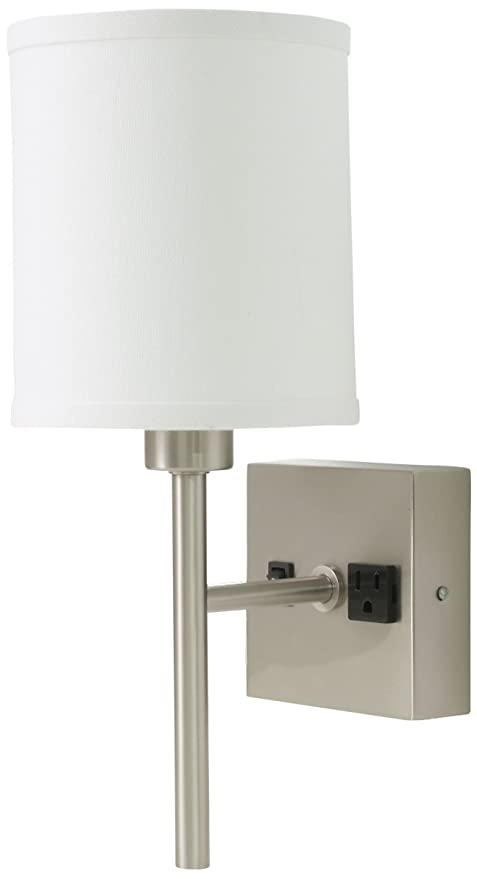 House of Troy WL625-SN Wall Lamp with Convenience Outlet, Satin ...