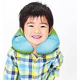 ネックピロー 子供用 BestMaxs U型 携帯枕 手動プレス式膨らませる 飛行機まくら 旅行便利グッズ プレゼント (グリーン+ブルー)
