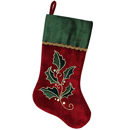 337e8add7 Christmas Stocking Classic Red Green Traditional Elegant Xmas Stocking  Solid Holly Embroidered Velvet Family Presents Christmas