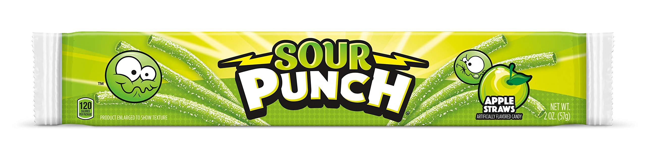 Sour Punch Straws, Sweet & Sour Apple Fruit Flavor, Soft Chewy Candy, 2oz Tray (24 Pack) by Sour Punch (Image #2)