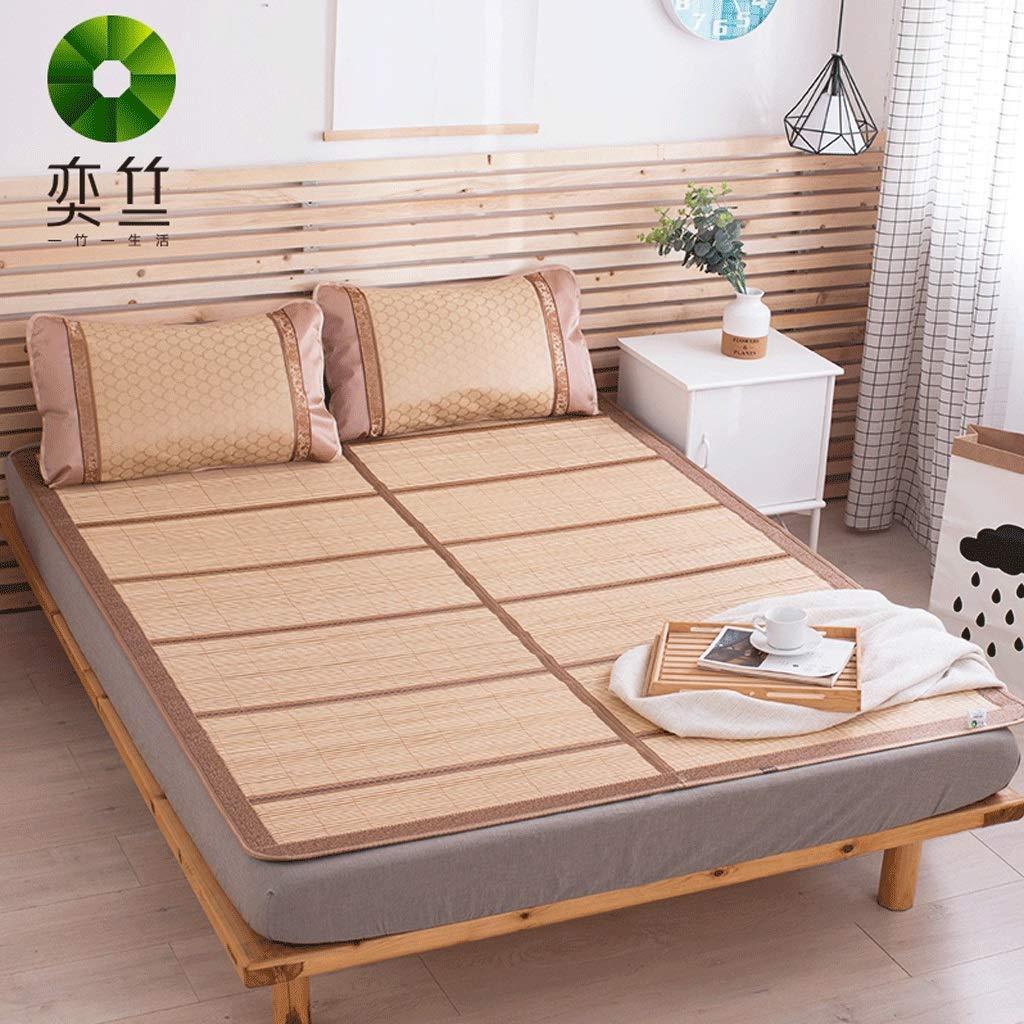 WXH Doppelseitige Karbonisierte Bambusmatte Doppeltes Faltbares Einzelnes Studentenwohnheim Sommer-Bambusmatte Dreiteilig (größe   1m×1.9m)  1.2m×1.9m