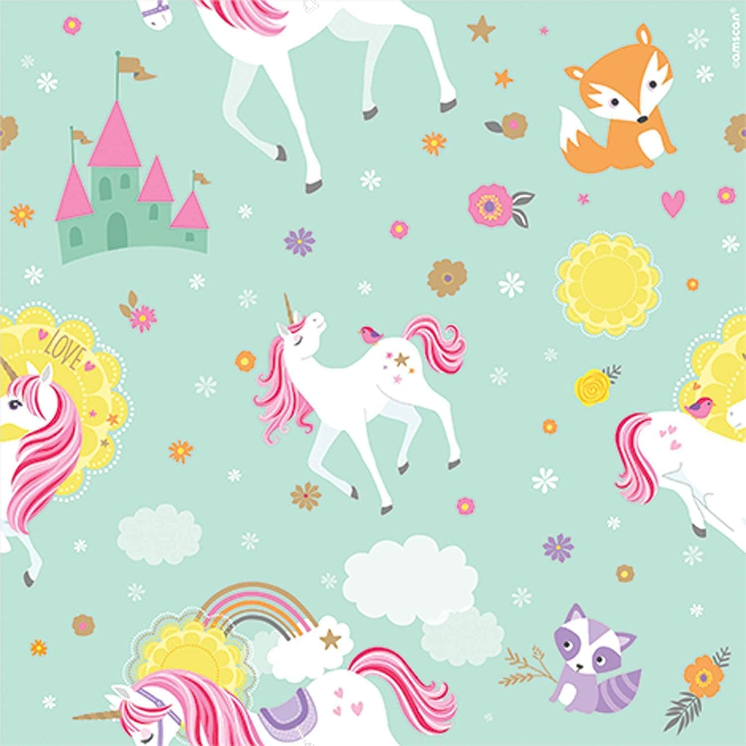 Brand New Stationery Unicorns and Rainbows Gift Wrap Sheets Pack