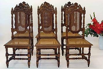 6 Antike Stühle Gründerzeit Um 1880 Massiv Eiche