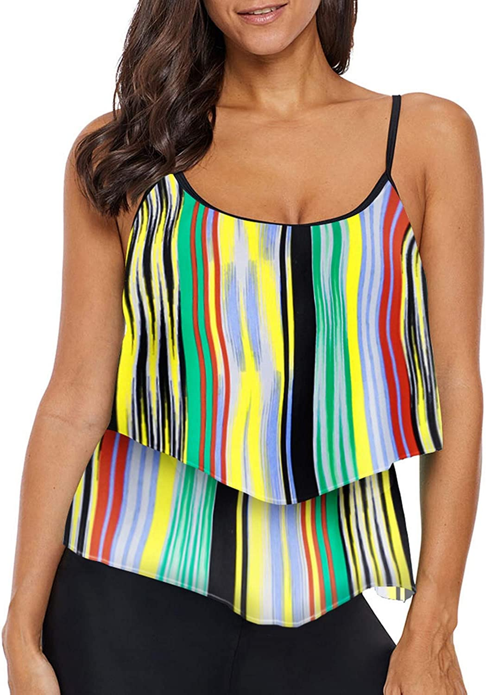 Deralove Womens Stripe Ruffled Tankini Tops Layered Swimwear No Bottoms,S-3XL