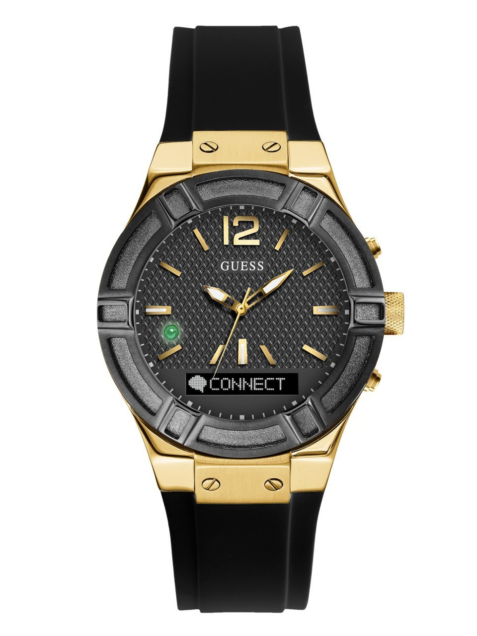 GUESS Women's CONNECT Smartwatch with Amazon Alexa and Silicone Strap Buckle - iOS and Android Compatible -  Black
