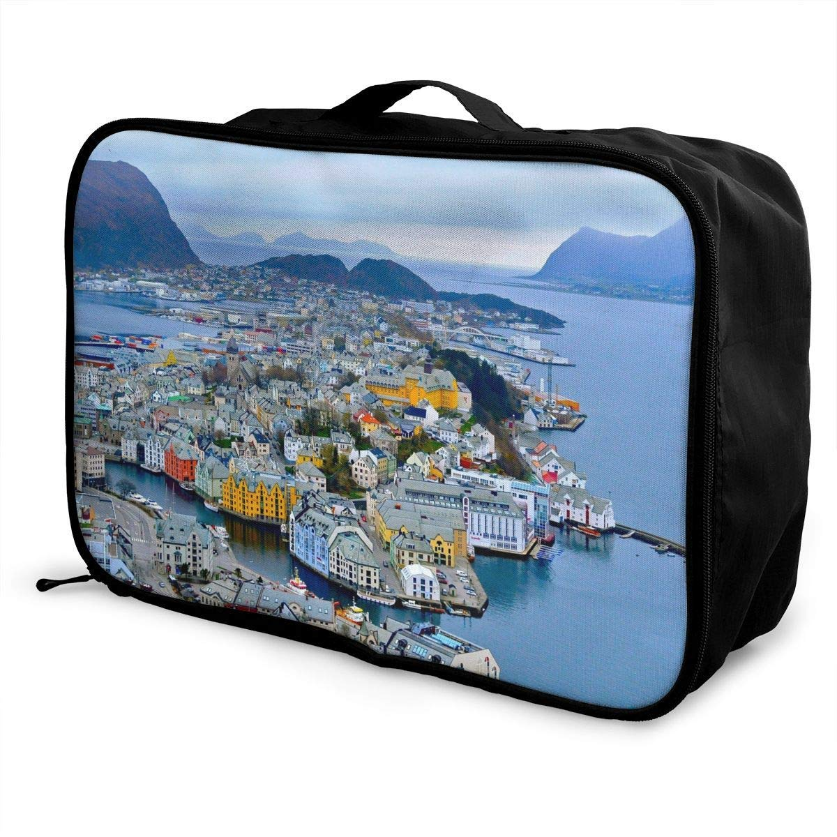 Portable Luggage Duffel Bag Alesund Scenery Travel Bags Carry-on In Trolley Handle