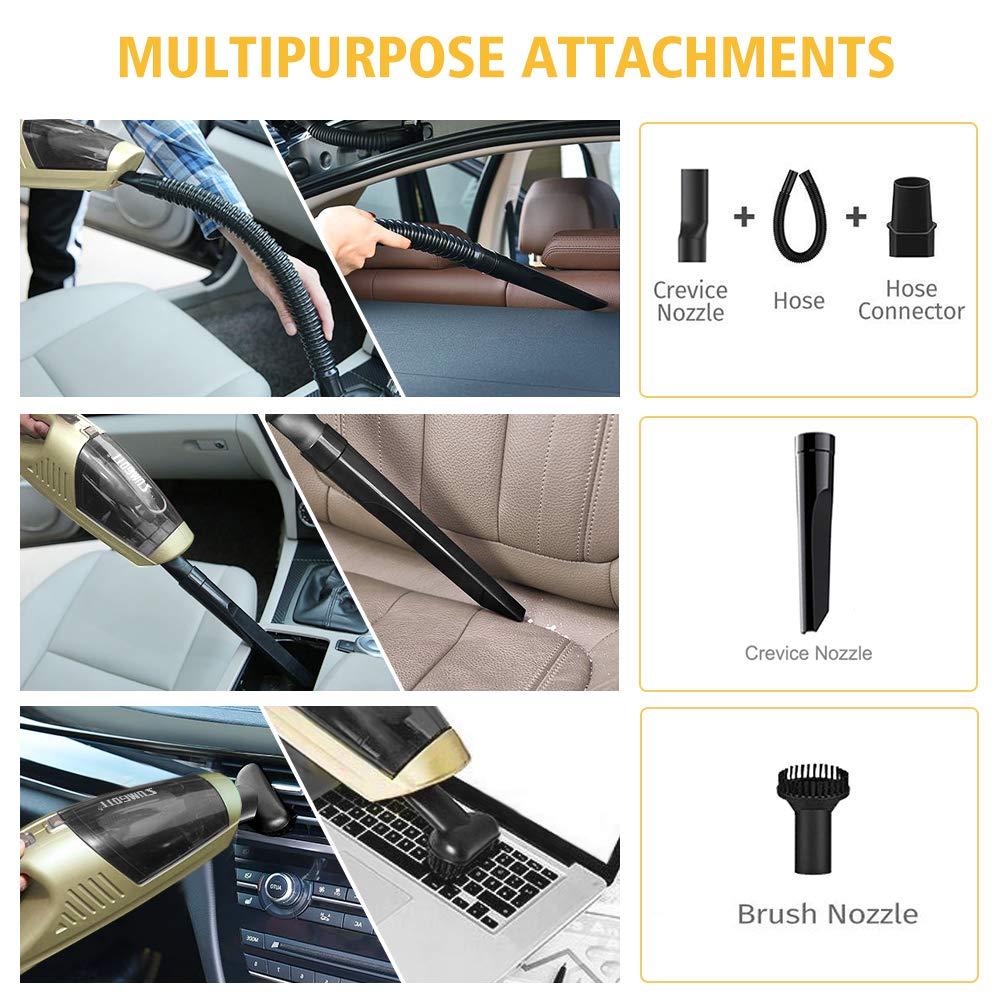 SUMGOTT Aspirapolvere per Auto 4500PA//90W//12V//2200mAh Aspirapolvere Portatile Senza Fili