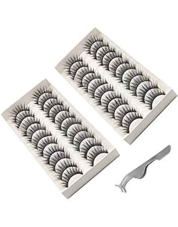 Amaza 20 Pares Pestañas Postizas Naturales 3d Extensión Maquillaje con Pestañas Postizas Aplicador Regalo Gratis (
