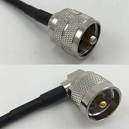 1 foot RG58 PL259 UHF Male to UHF Male Angle Pigtail Jumper RF coaxial cable 50ohm