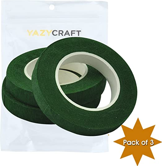 YazyCraft 1//2 inch Floral Tape Green pack of 3 wedding bouquet dark green tape packaging tape adhesive for bouquet stem wrap floral arranging craft projects corsages