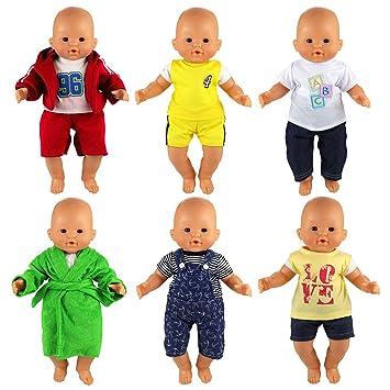 Miunana 6 Ensembles Tenues pour Poupée Bébé Vêtements Mignon à La Mode pour  Poupée Bébé Vêtements 3b7f22ac809