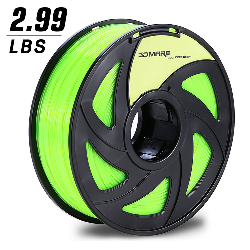 3D MARS Fluorescent Green PLA 1.75mm 3D Printing Filament 3D Printer Filament, Dimensional Accuracy +/- 0.05mm, 2.99LBS Filament(including spool)for Most 3D Printer & 3D Printing Pen