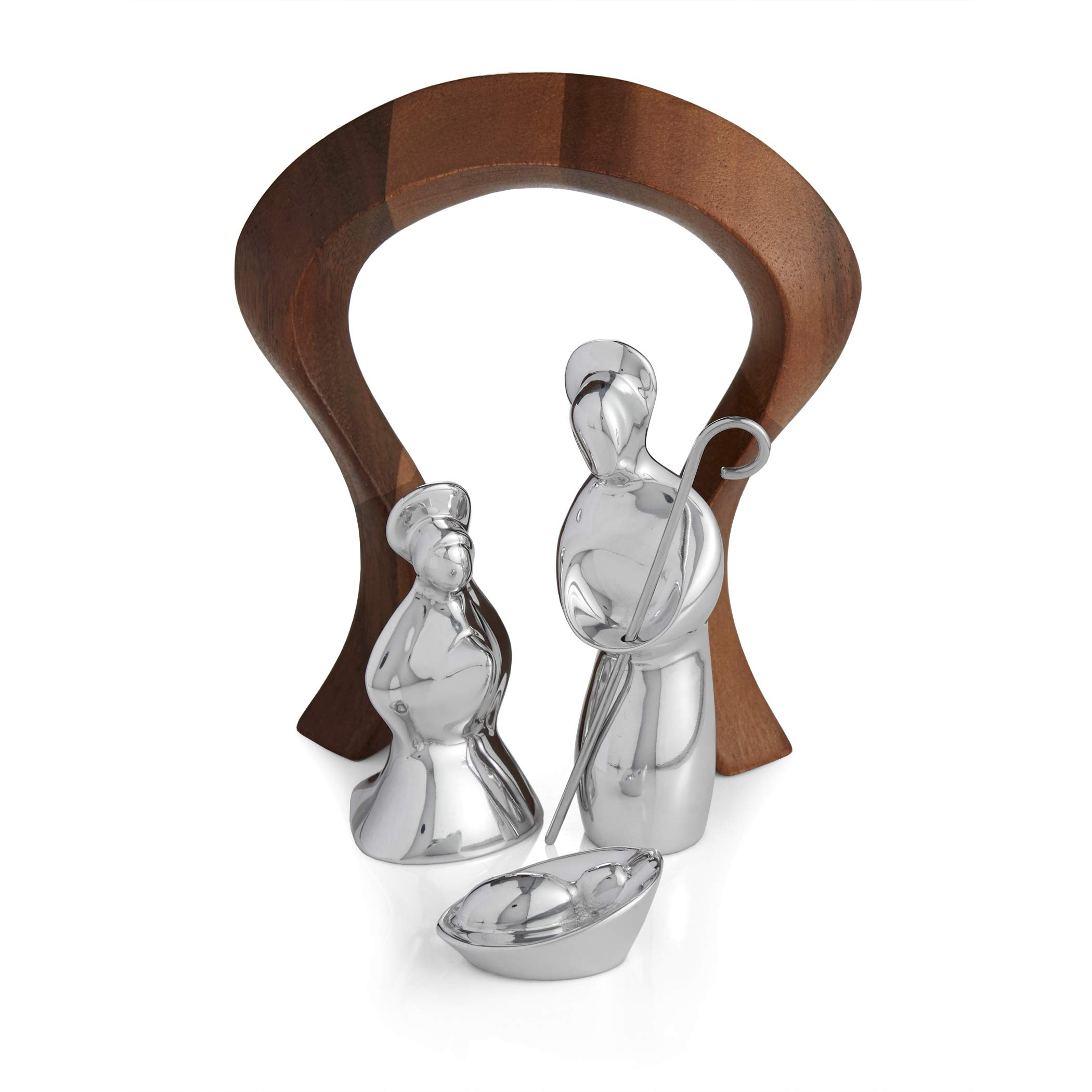 Nambe Miniature Nativity Figures - Holy Family with Arch