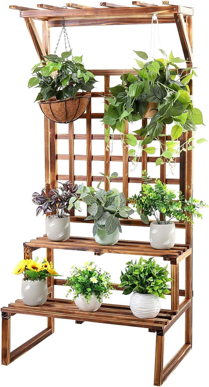 unho Rustic Plant Stand 2 Tier Carbonized Pine Wood Display Shelf Ladder Rack with Trellis Indoor Outdoor for Corner Patio Balcony Garden Yard Decor
