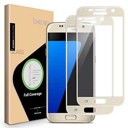 Icheckey 2 Pack Samsung Galaxy S7 Screen Protector 25d Full Coverage Tempered Glass Screen Protector Cover For Samsung Galaxy S7 Gold