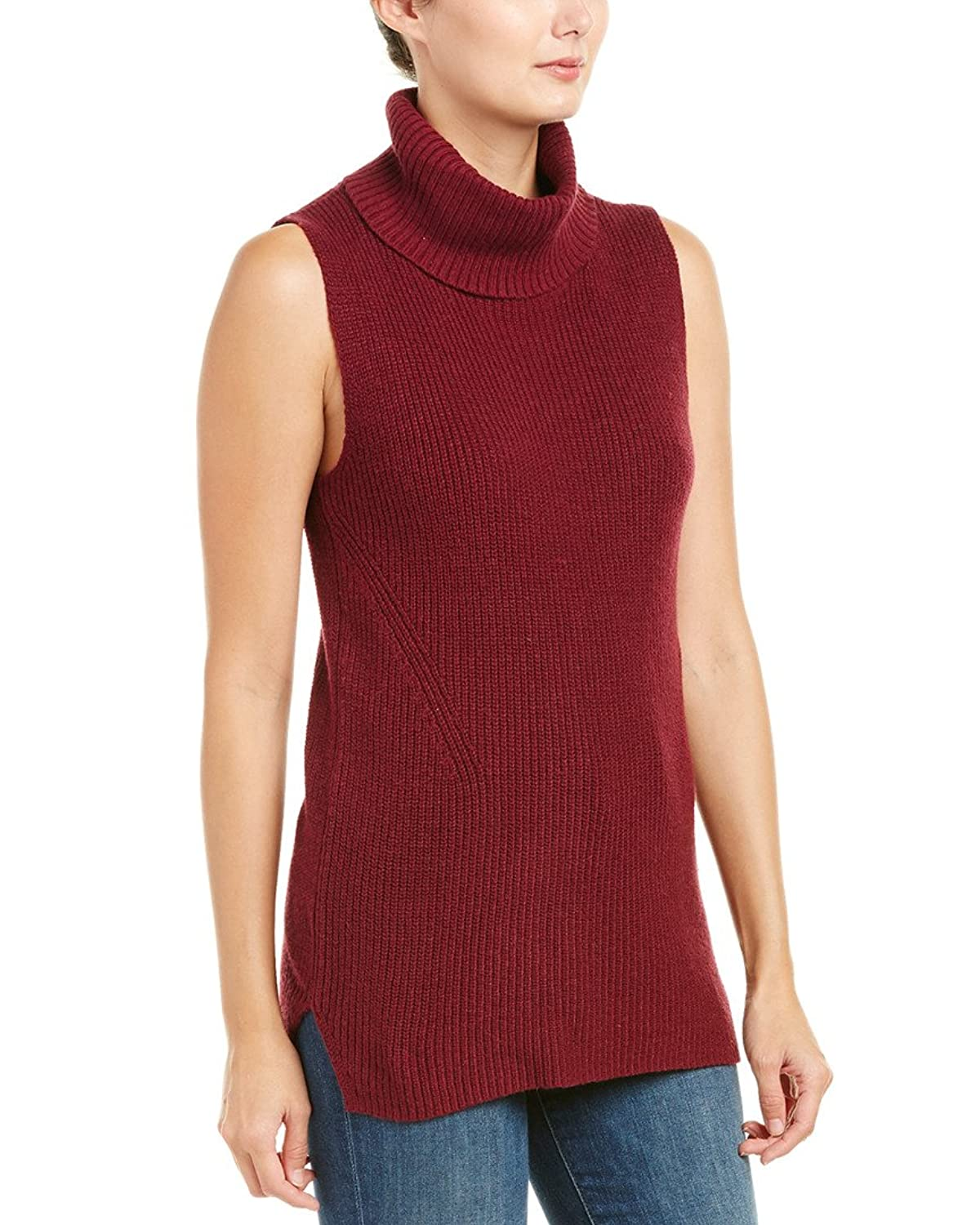 French Connection Womens Abel Sleeveless Cotton Blend Turtleneck Top Red S