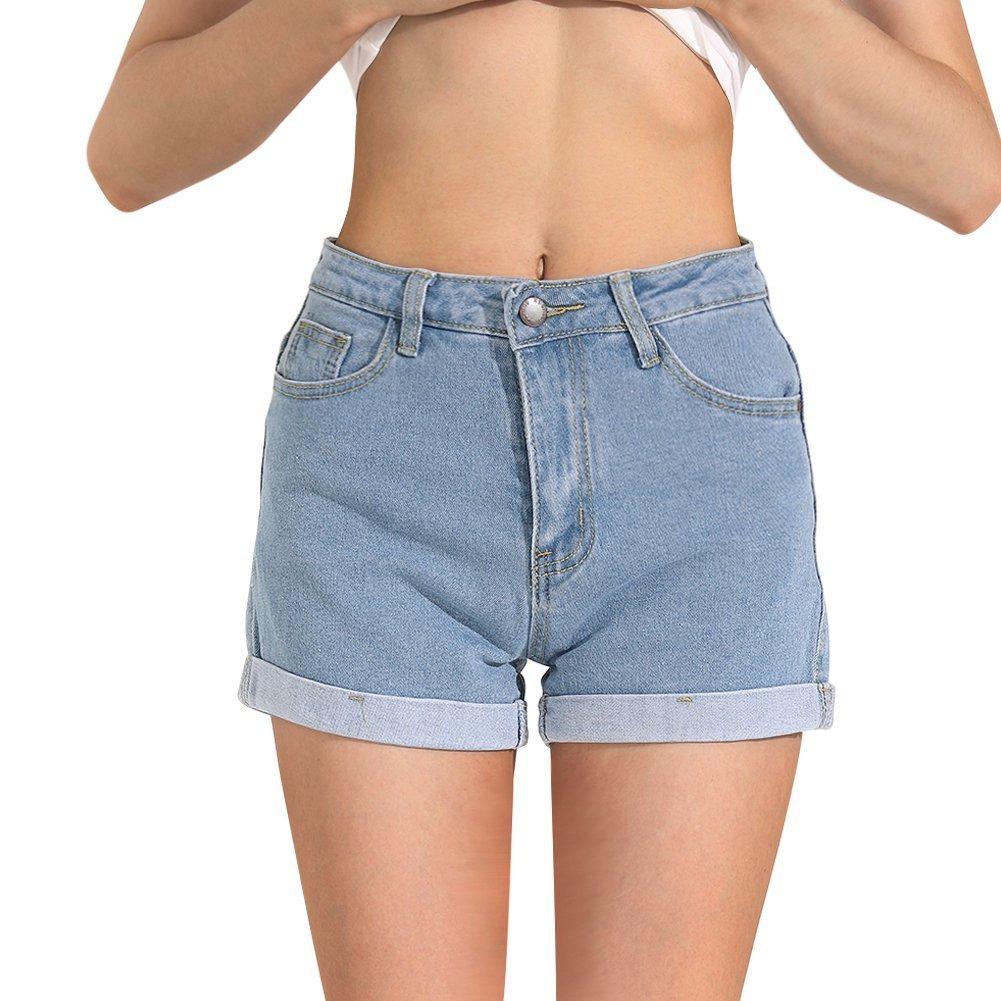 Hocaies Juniors Vintage Fit Mid-Rise Body Enhancing Denim Shorts (Light Blue, 8)
