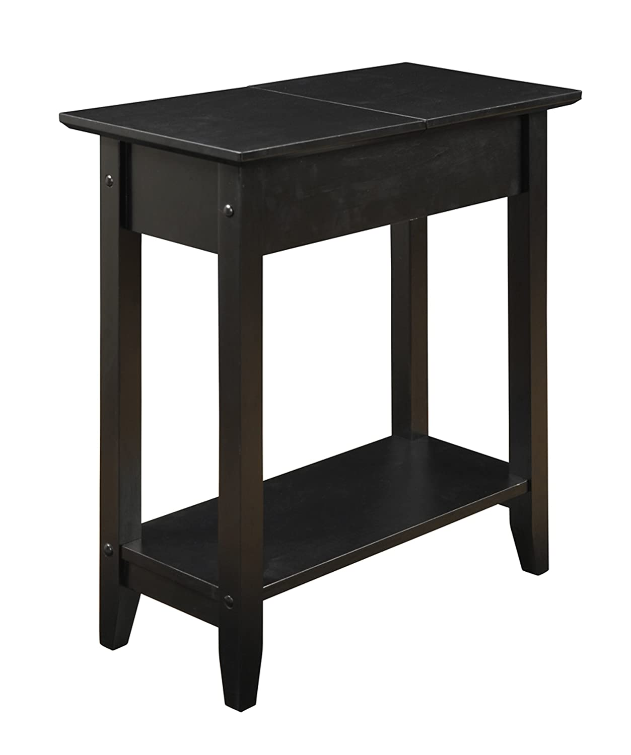 Amazon round side table - Amazon Com Convenience Concepts American Heritage Flip Top End Table Black Kitchen Dining