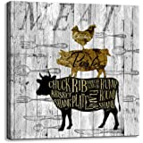 Canvas Wall Art for Kitchen Restaurant Wall Decoration Animal Theme Wall Decor Chicken Pig Cow Canvas Picture Modern Prints A