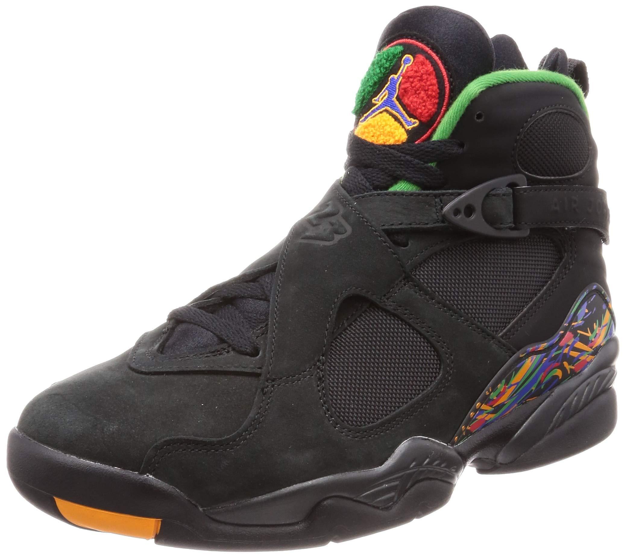 0f8b19fc3f2 Galleon - Jordan 8 Retro Men's Shoes Black/Light Concord/Aloe Verde Noir  305381-004 (9.5 D(M) US)