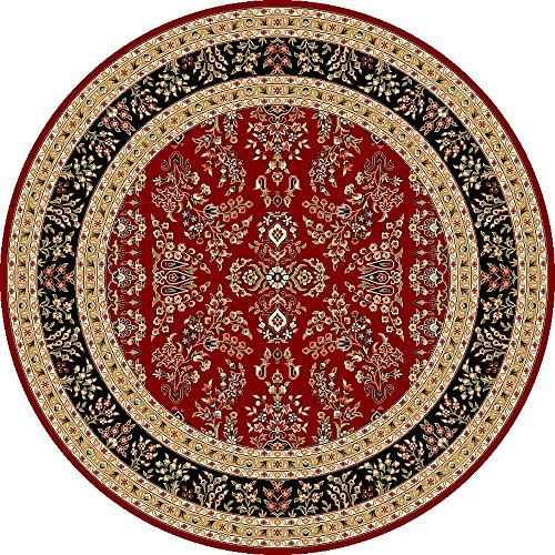 ollection LNH331B Traditional Oriental Red and Black Round Area Rug (8' Diameter) (Machine Made Persian Garden)