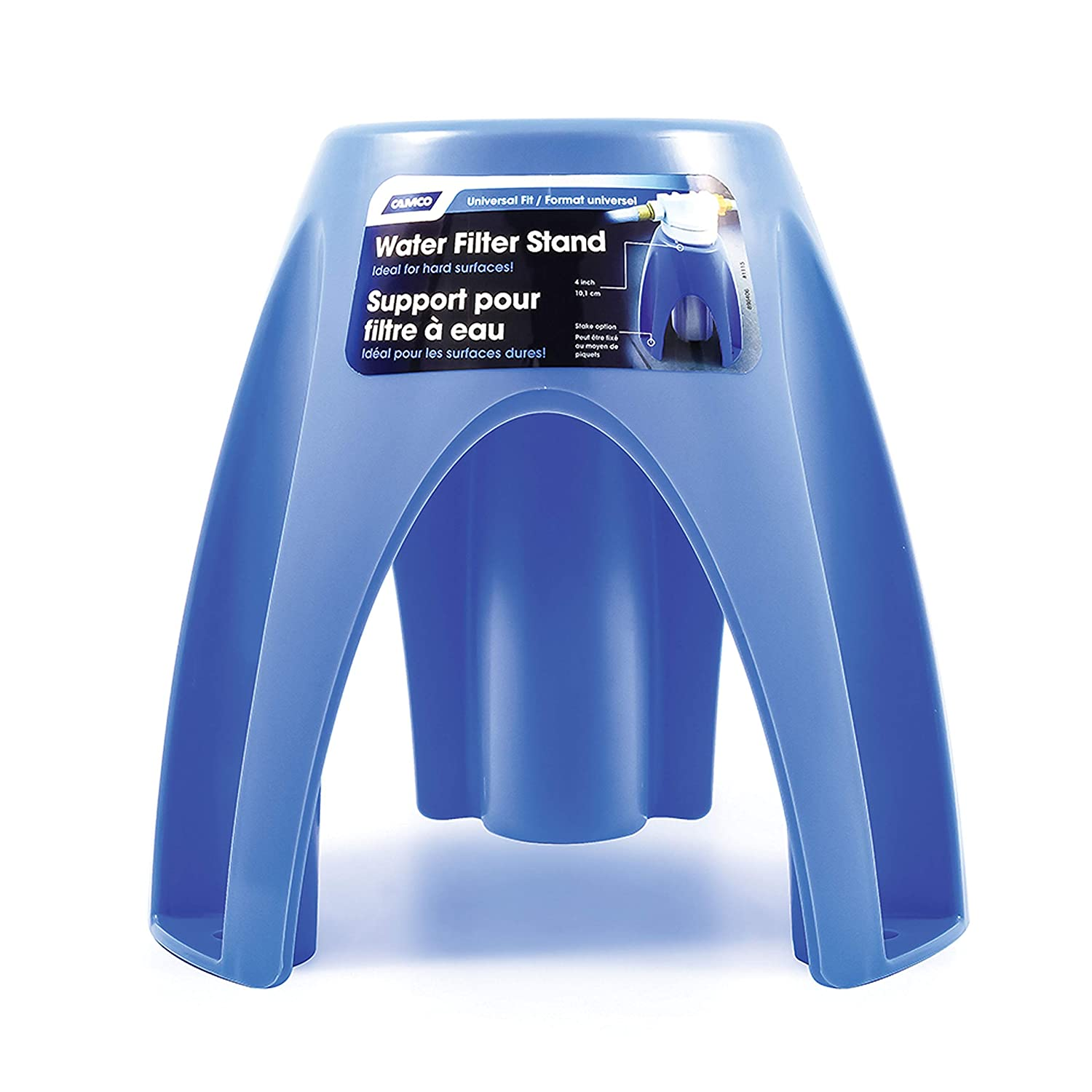 Camco Universal Fit Plastic Water Filter Stand- Supports Water Filter in Upright Position To Reduce Hose Kinking and Maximize Water Flow Rate, Fits 4-Inch Filters (40775)