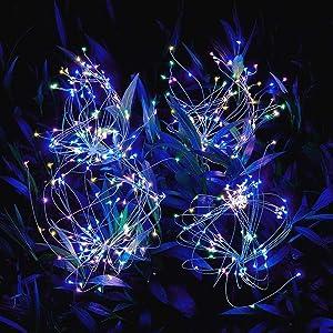 Outdoor-Solar-Garden-Lights,105 LED Solar Powered Decorative Stake Landscape Light DIY Flowers Fireworks Stars for Walkway Pathway Backyard Christmas