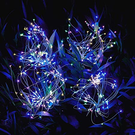 Amazon Com Outdoor Solar Garden Lights 105 Led Solar Powered Decorative Stake Landscape Light Diy Flowers Fireworks Stars For Walkway Pathway Backyard Christmas Home Improvement