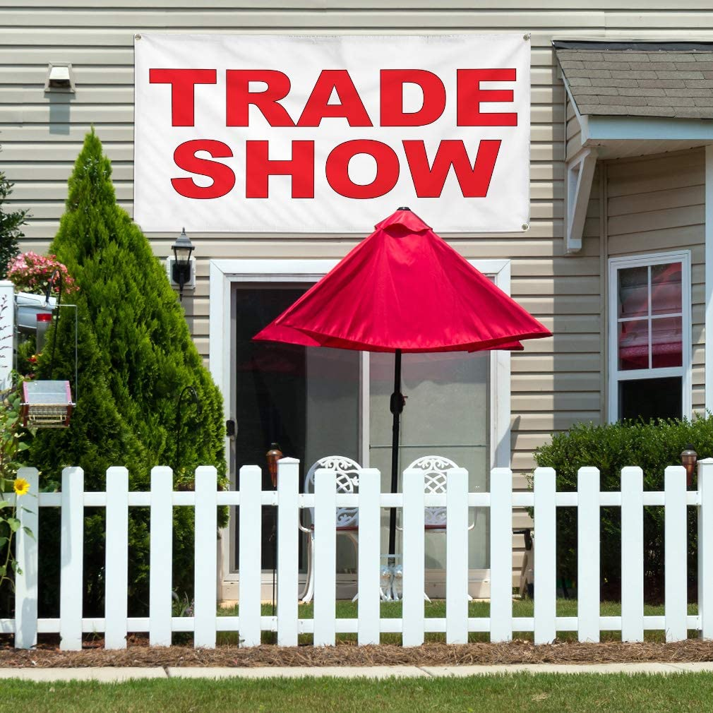 Vinyl Banner Multiple Sizes Trade Show Red Trade Shows Outdoor Weatherproof Industrial Yard Signs 10 Grommets 60x144Inches