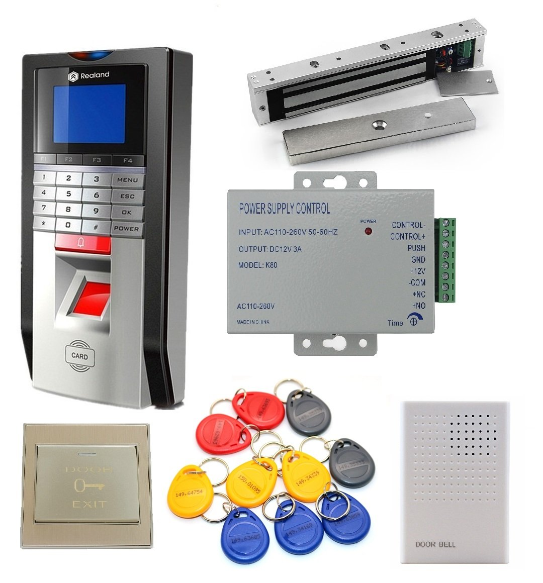 TCP/IP Single Door Fingerprint and RFID Card Access Control System & Time Attendance Kits+Magnetic lock