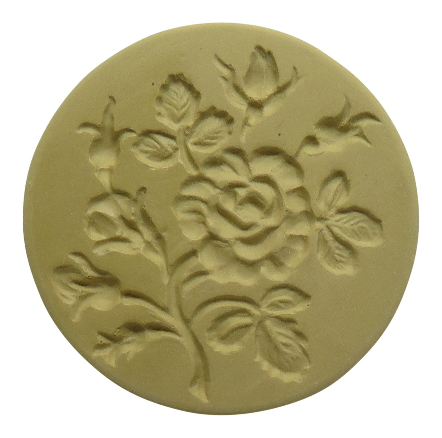 Brown Bag Moss Ross Flower Handled Ceramic Cookie Stamp or Press NA