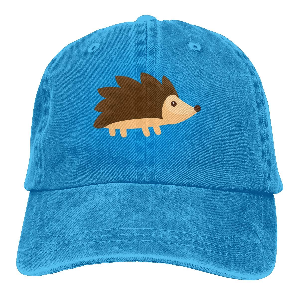Qbeir Adult Unisex Jeans Cap Adjustable Hat Hedgehog Cotton Denim