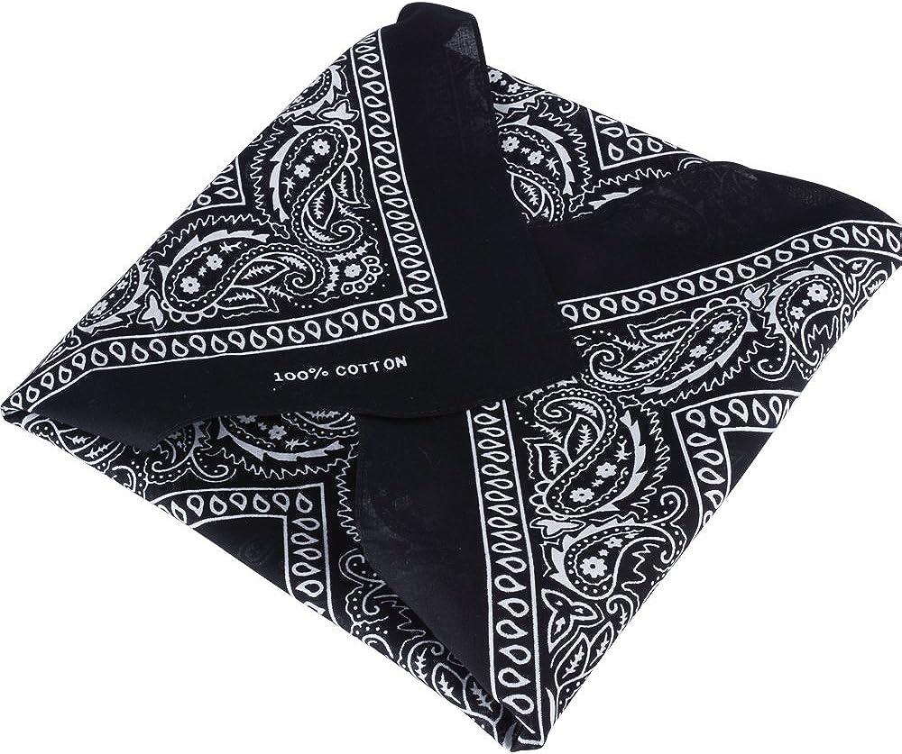 QUMAO 12 pcs Bandana Foulard Original Paisley 100/% Coton Noir Env.55cm*55cm
