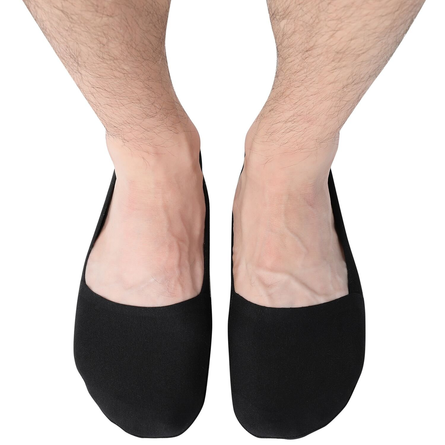 Fitrell Mens No Show Socks Non-Slip Grips Casual Boat Loafer Socks 6 Pairs,Black