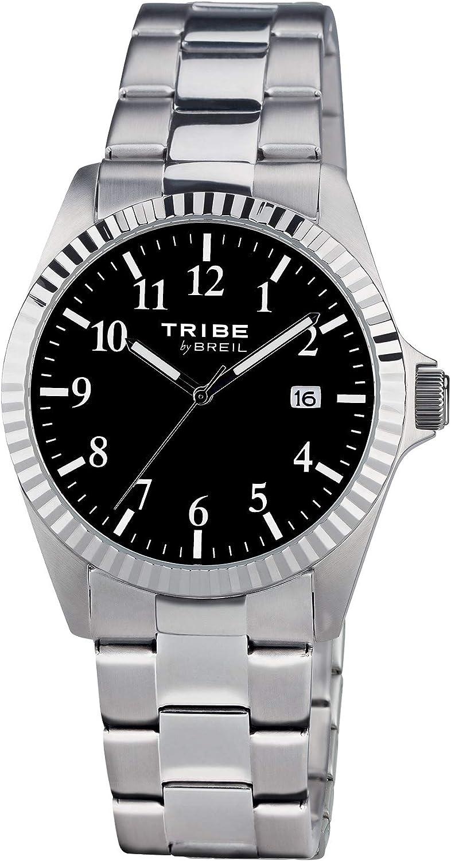 Reloj de tiempo sólo en acero inoxidable con esfera de color negro EW0191 BREIL