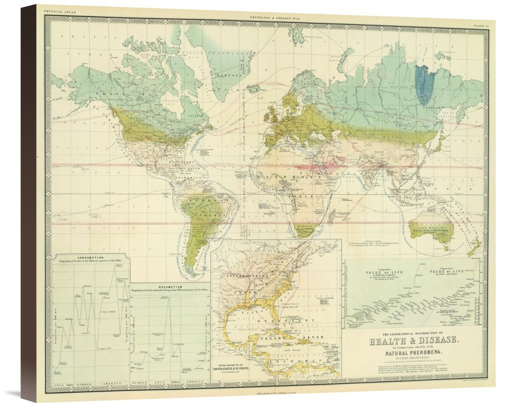 Global Gallery GCS-295532-22-144 ''Historical Map Alexander Keith Johnston Health Disease 1856'' Museum Wrap Giclee on Canvas Wall Art Print