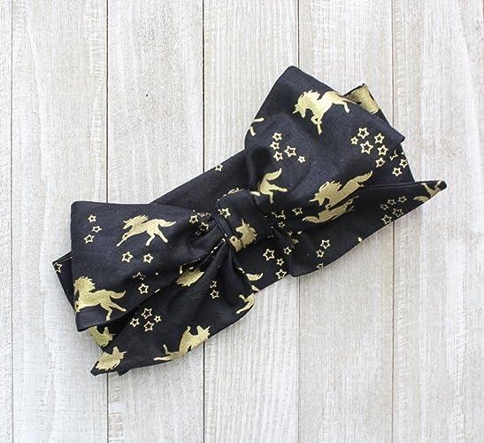 Amazon.com  Black and Gold Unicorn Glam Fabric Top Knot Big Bow Headband  Head Wrap 7cafc95a016