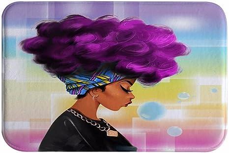 Amazon Com Daringone Traditional African Black Women With Purple Hair Afro Hairstyle Door Mats Cover Non Slip Machine Washable Indoor Bathroom Kitchen Decor Rug Mat Welcome Doormat 23 6x15 7inch Home