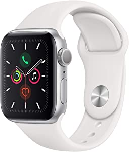 Apple Watch Series 5 (GPS, 40MM) - Silver Aluminum Case with White Sport Band - (Renewed)