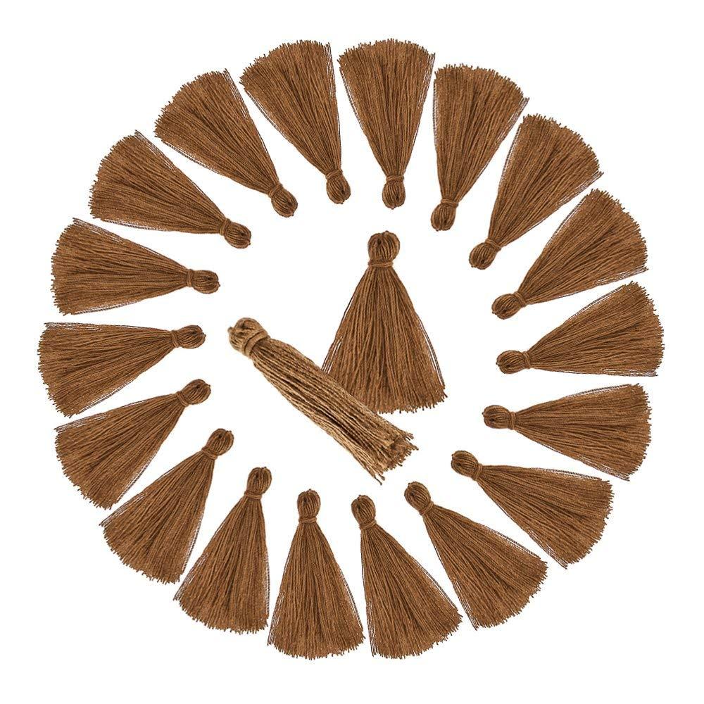 20 Borlas de hilo flecos para manualidades RUBY Beige